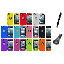 Deluxe Hybrid 3-Piece Case Cover+Protector+Charger+Pen for iPod Touch 5th 5G