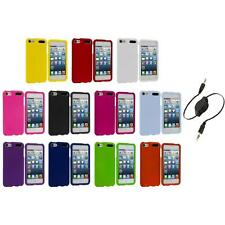 Color Snap-On Hard Rubberized Case Cover+Aux Cable for iPod Touch 5th Gen 5G 5