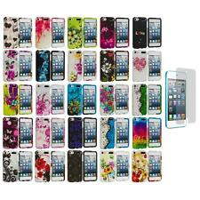 Flower Hard Rubberized Case Cover+Screen Protector for iPod Touch 5th Gen 5G