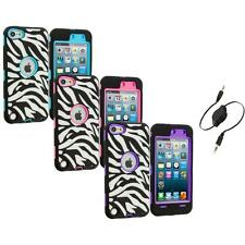 For Apple iPod Touch 5th Gen 5G Hybrid Zebra Case Cover+Screen Aux Cable