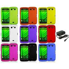 Color Hard Rubberized Case Cover+Wall Charger for Blackberry Torch 9850 9860