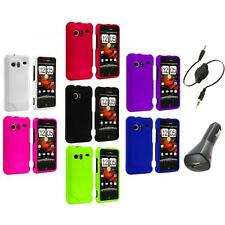 Color Hard Rubberized Case Cover+Aux+Charger for HTC Droid Incredible 6300