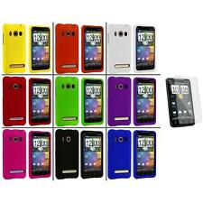 Color Hard Snap-On Rubberized Case Cover+3X LCD Protector for HTC Sprint EVO 4G