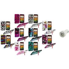 Design Hard Snap-On Case Cover Accessory+Dual Charger for HTC EVO 4G LTE Sprint
