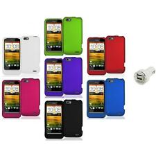 Color Hard Snap-On Rubberized Case Cover Accessory+Dual Charger for HTC One V