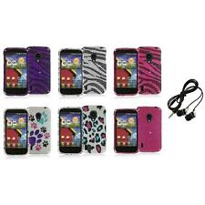 For LG Lucid 2 VS870 Bling Diamond Design Hard Case Cover+Headphones