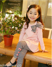Gorgeous Kids Cottons Pinks Tee + Black Legging Pant Set Girls Dresses SIZE 2-7Y