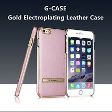 For iPhone 6 6s Plus Electroplating Hybrid Leather Kickstand Hard Case Cover