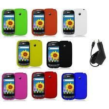 Silicone Rubber Color Gel Skin Case Cover+Charger for LG Net10 Optimus Net