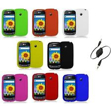 Silicone Rubber Color Gel Skin Case Cover+Aux Cable for LG Net10 Optimus Net