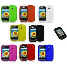 Silicone Rubber Color Gel Skin Case Cover+Sticky Pad for LG Net10 Optimus Net