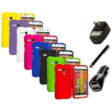 For Motorola Moto G Hard Rubberized Matte Snap-On Case Cover Charger+Stylus