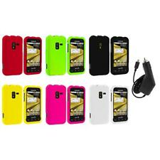 Color Hard Snap-On Rubberized Case Cover+Charger for Samsung Conquer 4G D600