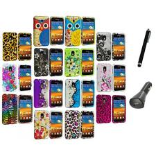 Design Hard Rubberized Case Cover+Charger+Pen for Samsung Sprint Galaxy S2 S II
