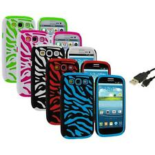 Hybrid Zebra Color Hard Soft Case Cover+USB Cable for Samsung Galaxy S3 S III