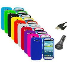 Silicone Rubber Color Case Cover+Charger+USB for Samsung Galaxy S III S3 i9300