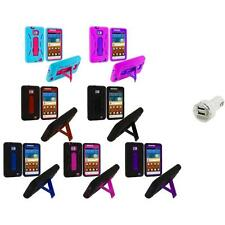 Hybrid Case Cover Stand+Dual Charger for Samsung Attain Galaxy S2 II i9100