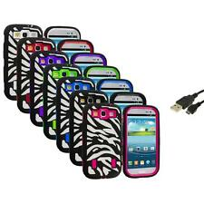 Zebra Hybrid Case Cover+Built Protector+USB Cable for Samsung Galaxy S3 S III