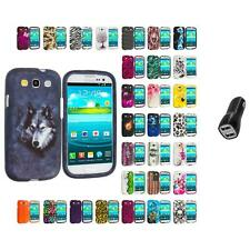 For Samsung Galaxy S3 Hard Design Snap-On Skin Case Cover 2.1A Charger
