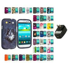 For Samsung Galaxy S3 Hard Design Snap-On Skin Case Cover Wall Charger