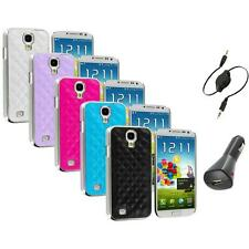 Leather Quilted Chrome Case Cover+Aux+Charger for Samsung Galaxy S4 S IV i9500