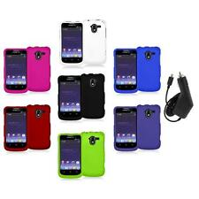 Color Hard Rubberized Case Cover+Charger for ZTE Avid 4G N9120 Metro PCS