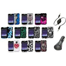 Design Hard Snap-On Rubberized Case Cover+Aux+Charger for ZTE Avid 4G N9120