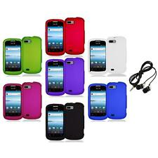 Color Hard Snap-On Rubberized Case Cover Accessory+Headphones for ZTE Fury N850