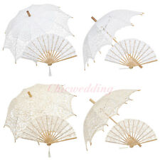Vintage Battenburg Lace Wedding Parasol Umbrella Hand Fan Set Bridal Party Decor