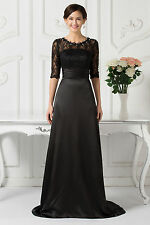 Black Lace Long Masquerade Mother Of The Bride Formal Wedding Evening Gown Dress