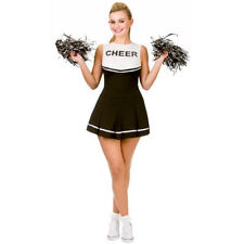 BLACK HIGH SCHOOL CHEERLEADER COSTUME AND POM POMS LADIES CHEER LEADER UNIFORM