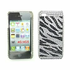 RHINESTONE DIAMANTE BLACK AND WHITE ZEBRA HARD BACK CASE FOR APPLE IPHONE 4/4S