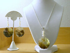 "Carved Flower Shell Pendant on 18"" Snake Style Necklace and Earring Set"