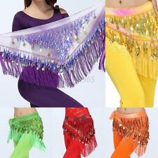 3 Rows Coins Sequin Bling Belly Dance Skirt Dancing Costume Wrap Hip Scarf Belt