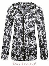 LADIES WOMENS ZIP SHOWERPROOF PARKA RAIN MAC COAT HOODED JACKET SIZES 8-16