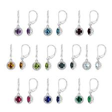 Sterling Silver 925 Round Gemstones (Your Choice) Leverback Dangle Earrings