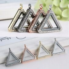 Living Memory Floating Charm DIY Triangle Crystal Glass Locket Necklace Pendant
