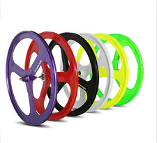 700c Tri Spoke Fixie Fixed Gear Single Speed Bike Front Rear Mag Wheels Set Rim
