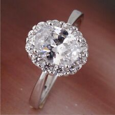 1ct Oval Cut Simulated Diamond 18k White Gold Plated Engagement Ring