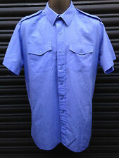 ROYAL AIR FORCE SURPLUS BLUE POLYCOTTON SHORT SLEEVED SHIRT-GOODWOOD,W&P REVIVAL