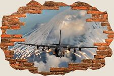 3D Hole in Wall Army Fighter Plane View Wall Stickers Film Art Decal S59