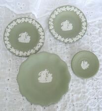 4 Pieces Wedgwood Celadon Jasperware Cupid Asleep Aurora Compotier Butter Pat +