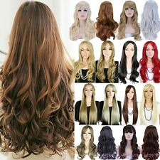 UK Long Straight Curly Full Wig Cosplay Party Daily Dress Adjustable Hot Sale N3