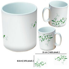 Green floral swirl on white 10oz mug or personalised with any image or text