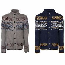 Mens Aztec Cardigan Tokyo Laundry New Chunky Knit Fairisle Pattern Jumper Jacket
