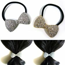 Crystal Rhinestone Bow Knot Elastic Ponytail Holder Hair Rope Tie Band Ring Gift