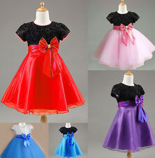 New Kids Children Girls BowKnot Floral Princess Party Dress For 2-10 Years HUN