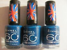 Rimmel 60 Seconds Nail Color Nail Polish # 844 OUT OF THE BLUE LTD EDT Lot of 3