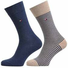 Tommy Hilfiger Small Stripe 2 Pack Cotton Logo Socks, Mid Summer. 2 Pairs Sox