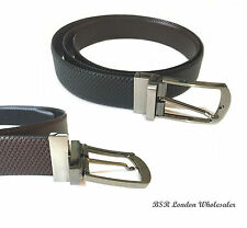 Mens New Black/Brown Leather Belt With Twist or Reversible Buckle